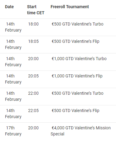 Valentine's Poker Week Freeroll Schedule